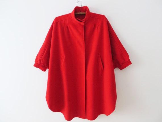 Hot Red Cape Coat Red Wool Poncho Women Felt Wool