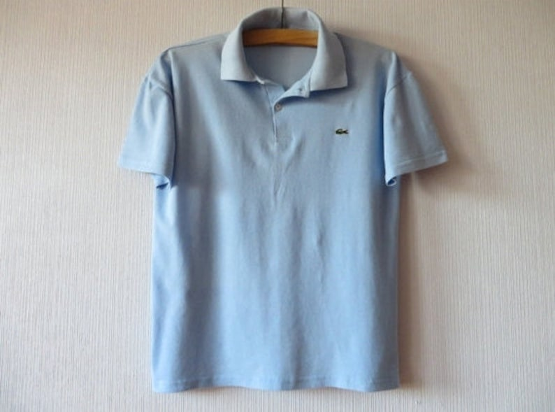 38fe2c54 Lacoste Polo Shirt Sky Blue Polo Shirt Short Sleeve Shirt Mens Polo Shirt  Light Blue Shirt Men's Golf Shirt Preppy Summer Shirt Medium Size