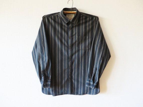 74379dfc Mens Work Shirt Blue Striped Shirt Long Sleeve Shirt Button Up | Etsy