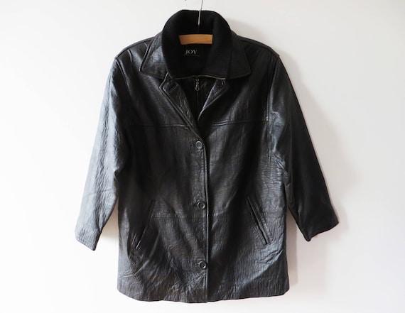2019 discount sale hot-selling latest big sale Vintage 90s Leather Parka Coat Black Leather Jacket Women Leather Coat  Genuine Leather Jacket Warm Leather Jacket Gift for Her Large Size