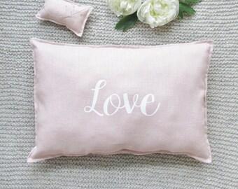 Nude linen pillow, Love.