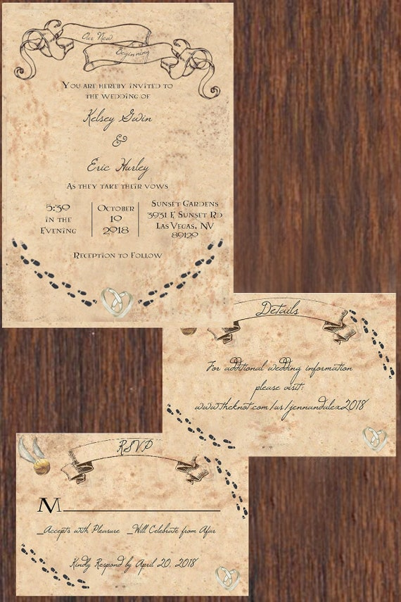 Marauders Map Inspired Wedding Invitation Suite Printable Etsy