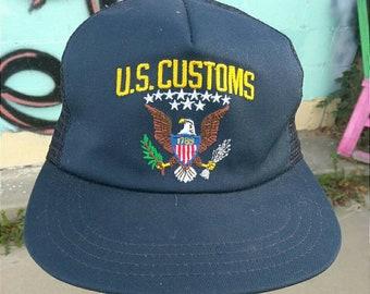 76d621bd4f0 Vintage US United States Customs Uniform Hat snapback 80s 90s