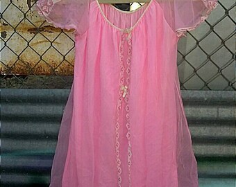 Vintage Pink Nightgown Babydoll Nightie 60s