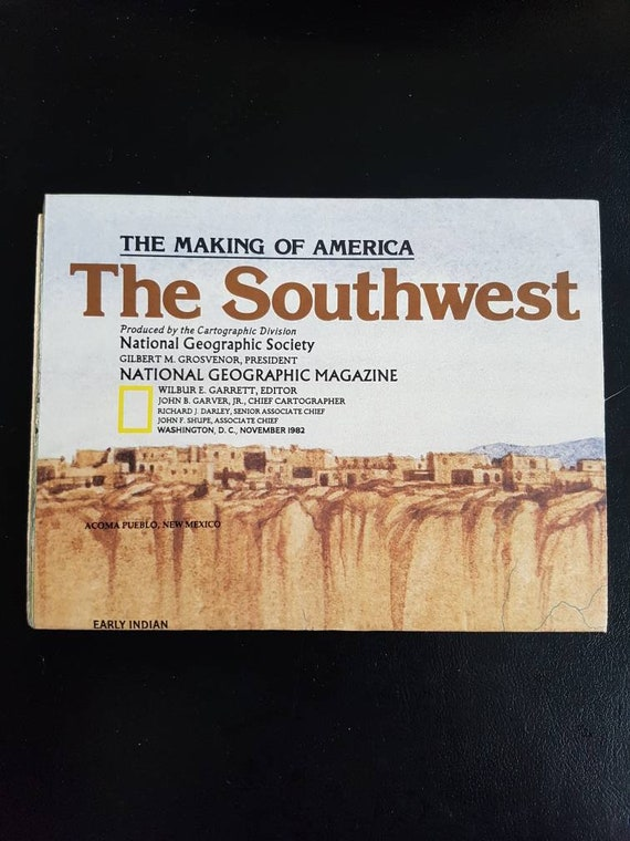 Vintage 1982 National Geographic Map of the Southwest