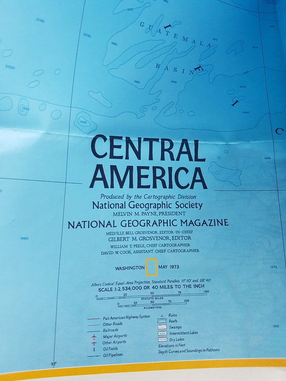 Vintage National Geographic map of Mexico and Central America