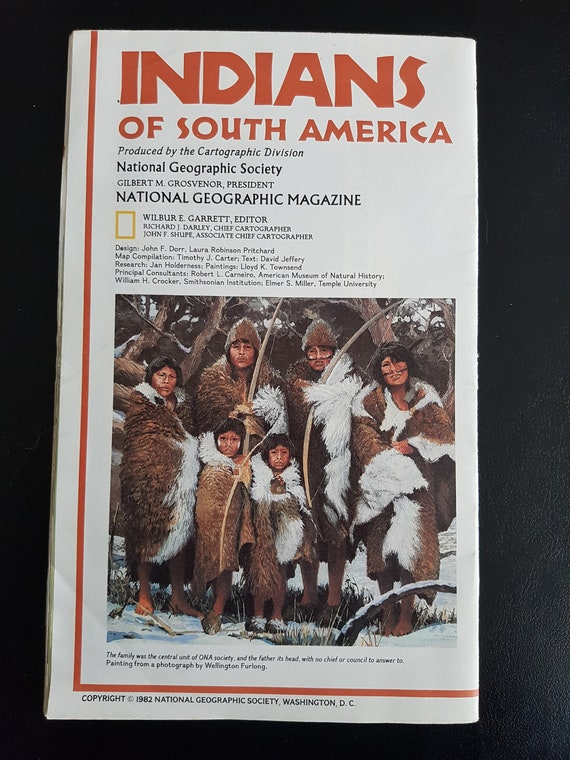 Vintage 1982 National Geographic Map of Indians of South America