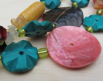 Pink, Mustard and Turquoise Bead Necklace