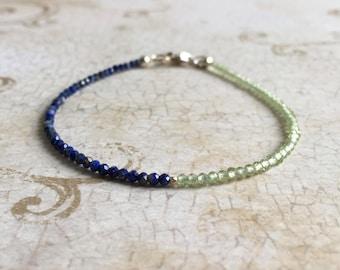 Lapis Lazuli and Peridot Bracelet, Peridot Bracelet, Lapis Lazuli Bracelet, Multi Gemstone Bracelet, Stacking Bracelet, August Birthstone