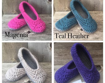 Ballet Style Slippers - Women's Sizes - Pick Your Colour - Chunky - knit - crochet