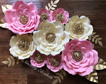 9 piece kate inspired paper flowers wedding decor bridal etsy 9 piece paper flowers wedding decor bridal decor backdrops grand opening sale mightylinksfo