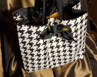 Unique Houndstooth Fabric Gift Bags