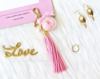 Pink bag charm - Flower bag charm - Tassel bag charm - Cute bag charm - Cute purse charm - Flower keychain - Cute keychain - Tassel keychain