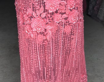 Heavily Hand Beaded Coral Fabric-- 4 yards