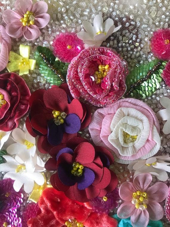 Superbe Haute Couture Designer luxe tissu Beige tissu luxe Tulle multicolore - vendu par yard c21f21