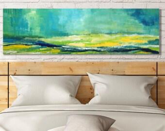 Large Horizontal Art - Original Art for Bedroom - for Living Room - Abstract Green Landscape - Modern Landscape Print - Canvas Print