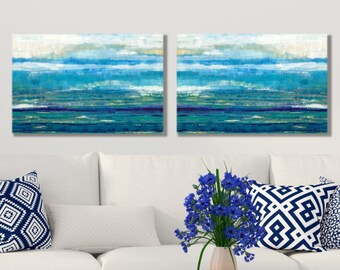 Beach Wall Art, Coastal Art, Blue, White, Large Coastal Wall Art, Horizon, Sea Art, Coastal Painting, Beach Paintings, Original Art, Canvas