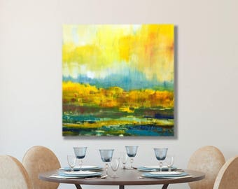 Large Yellow Painting, Art Abstract, Teal, Mustard, Wall Art, Yellow, Abstract Canvas Print, Extra Large, Minimalist, Modern, Mid Century