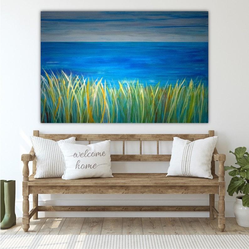 Ocean Horizon Beach Decor for Bedroom Beach Wall Art with Coastal Beach Grass Home Decor Beach Theme Beach CANVAS PRINT Large Wall Decor