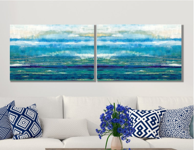 Abstract Ocean Painting On Canvas Set Of 2 Large Ocean Wall Art Canvas Multiple Sizes Frames