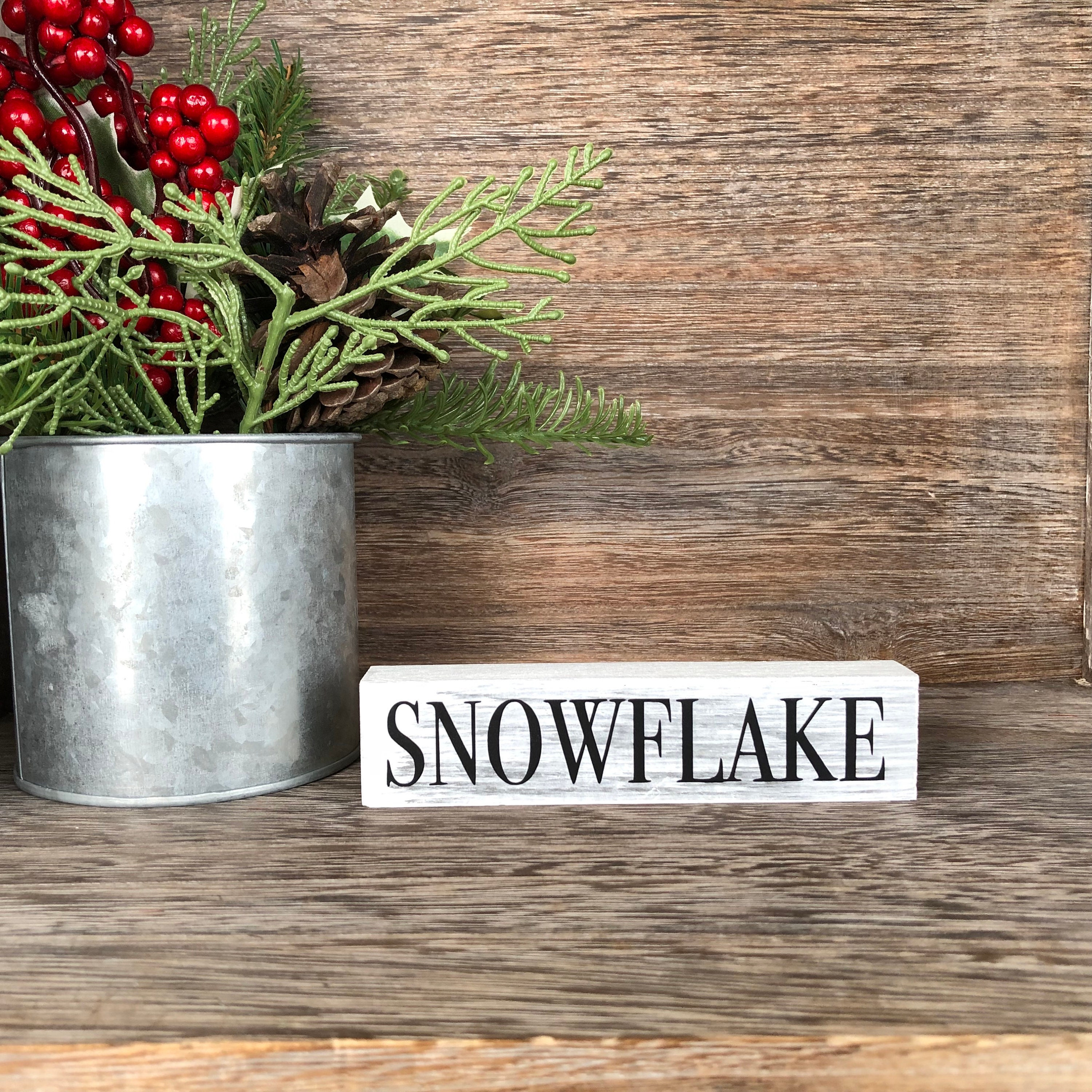Snowflake Small Rustic Black And White Sign Farmhouse