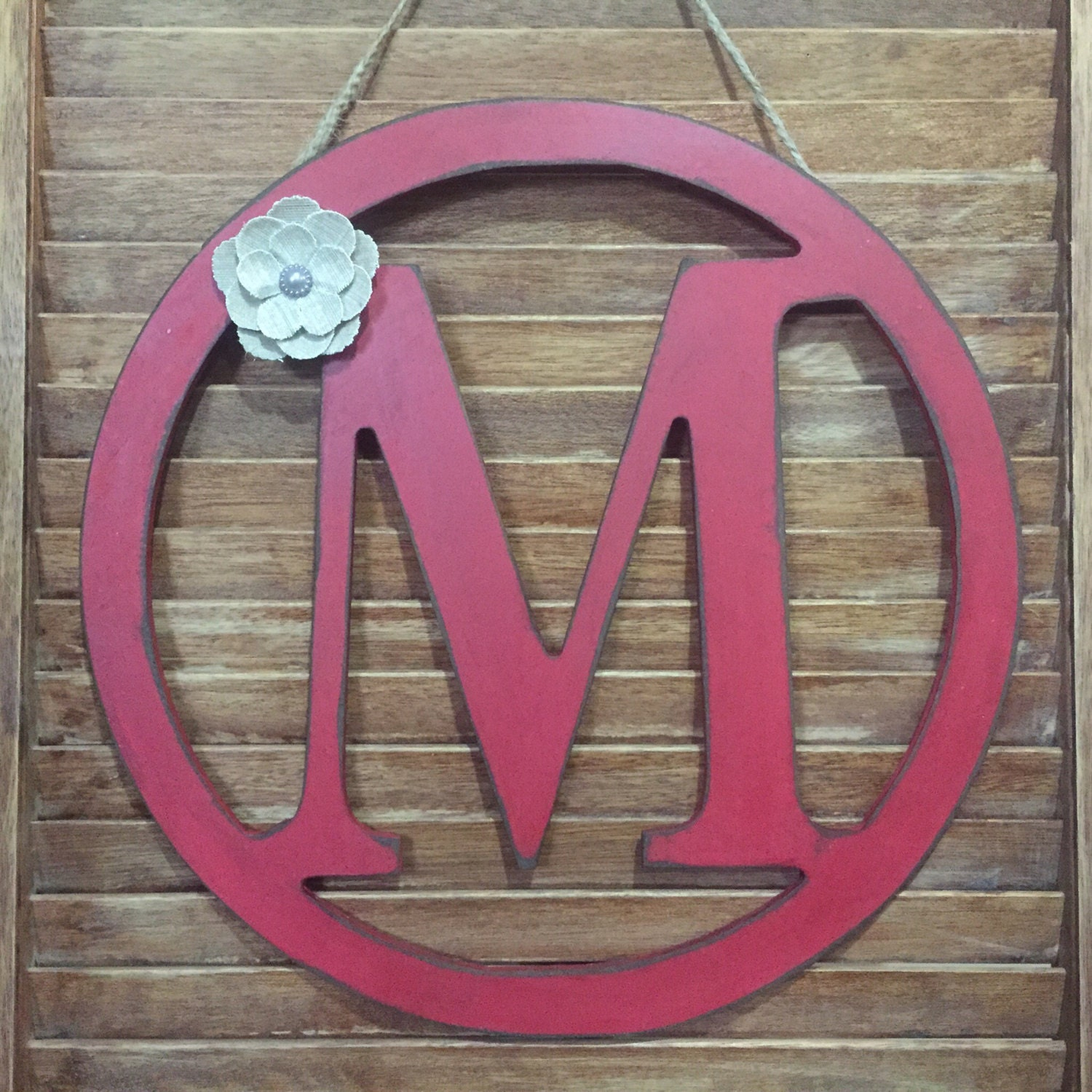 Rustic Distressed Initial Circle Letters, Rustic Country Red Door ...