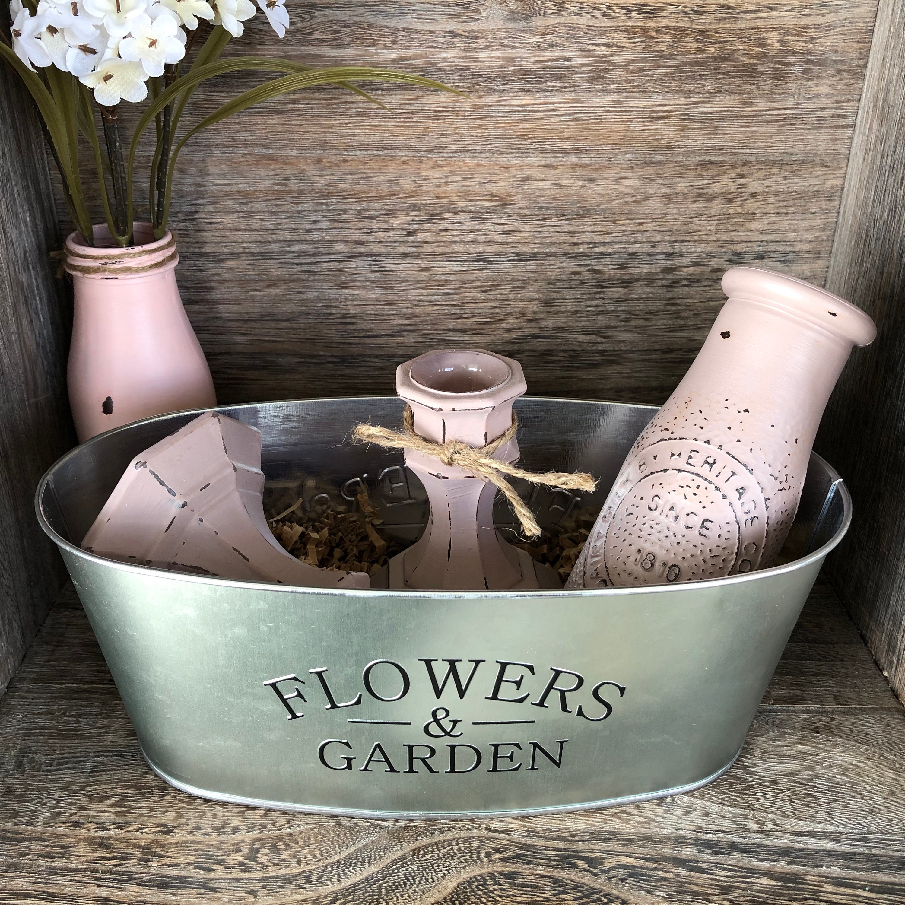 Mothers Day Gift Basket Dusty Mauve Rustic Home Decor Flowers