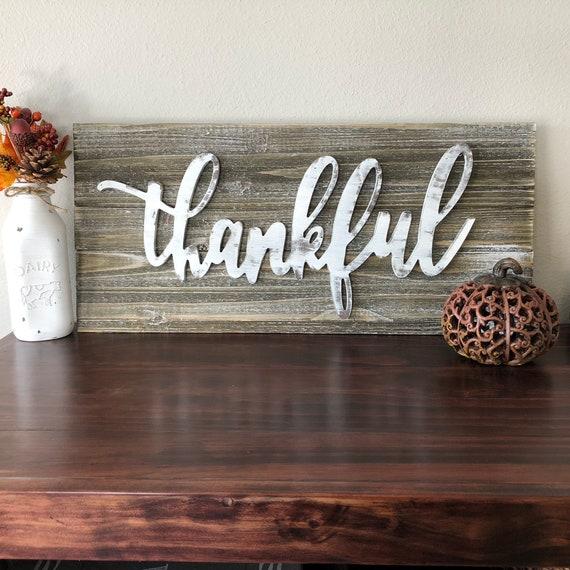 Thankful Large Rustic Pallet Sign Harvest Decor Farmhouse