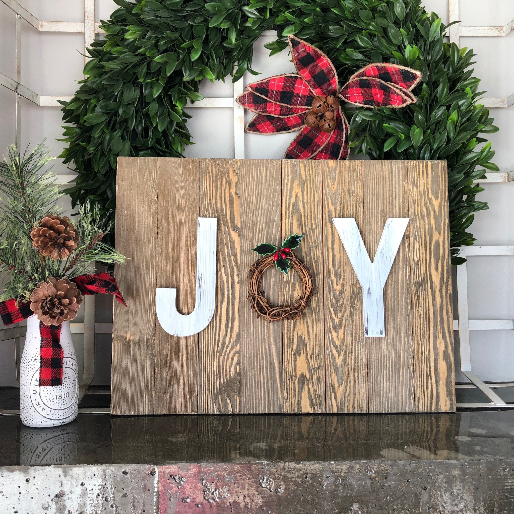 Joy Wood Pallet Sign Rustic White Letters Holiday Vine