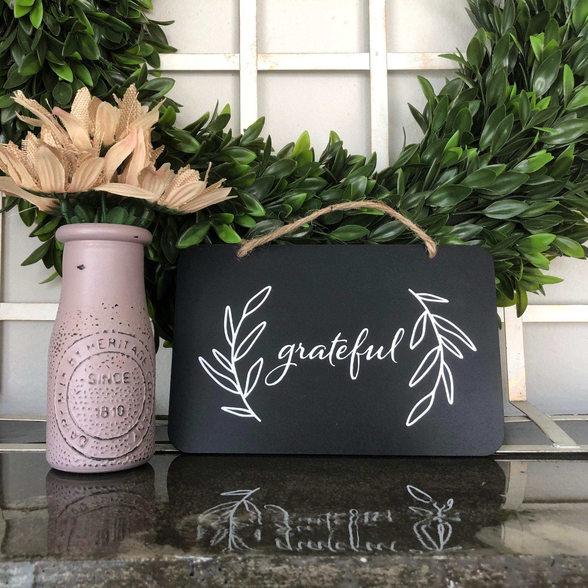 Grateful Chalkboard Style Black White Sign Fall Decor
