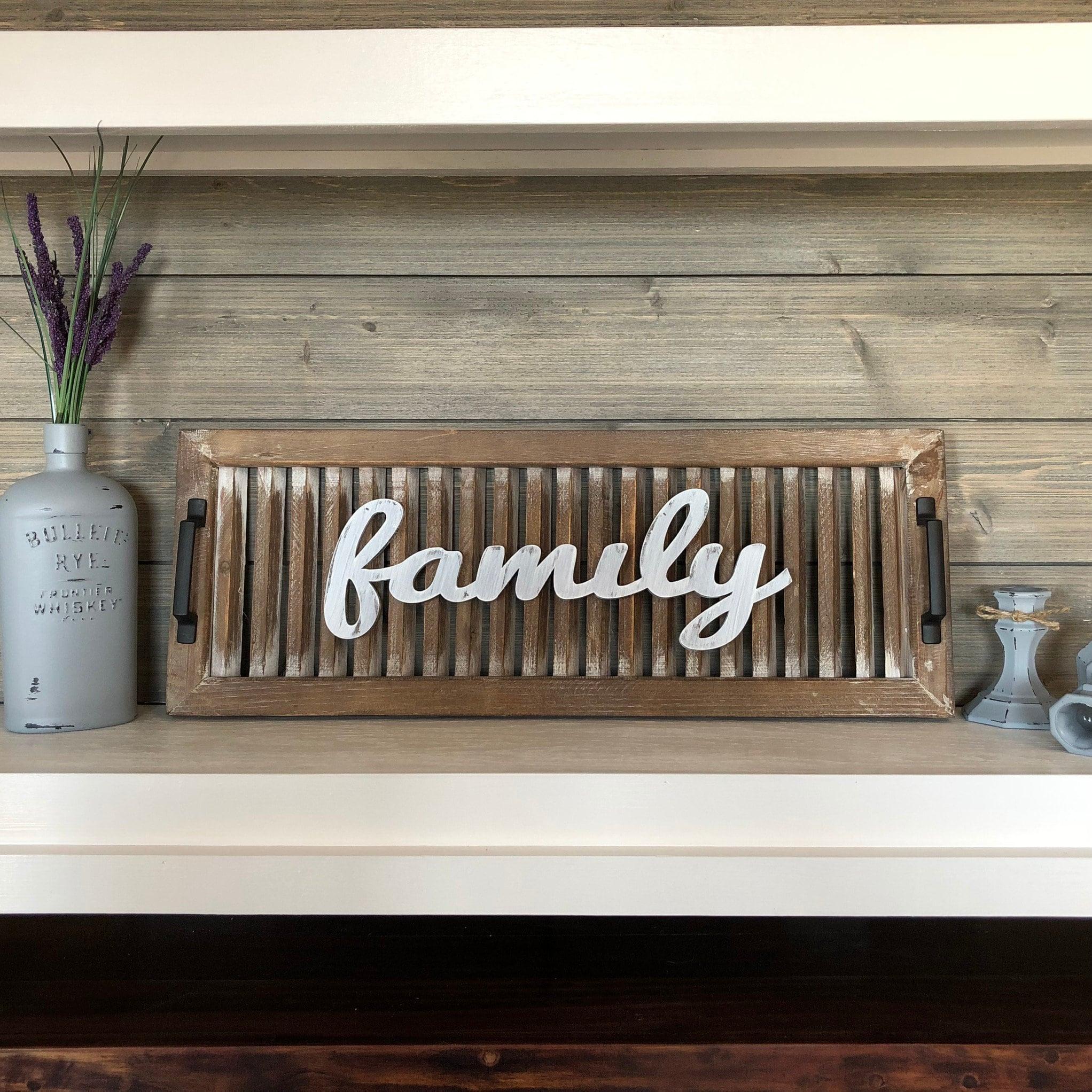 Family Sign Rustic Decor Repurposed Shutter Antique White