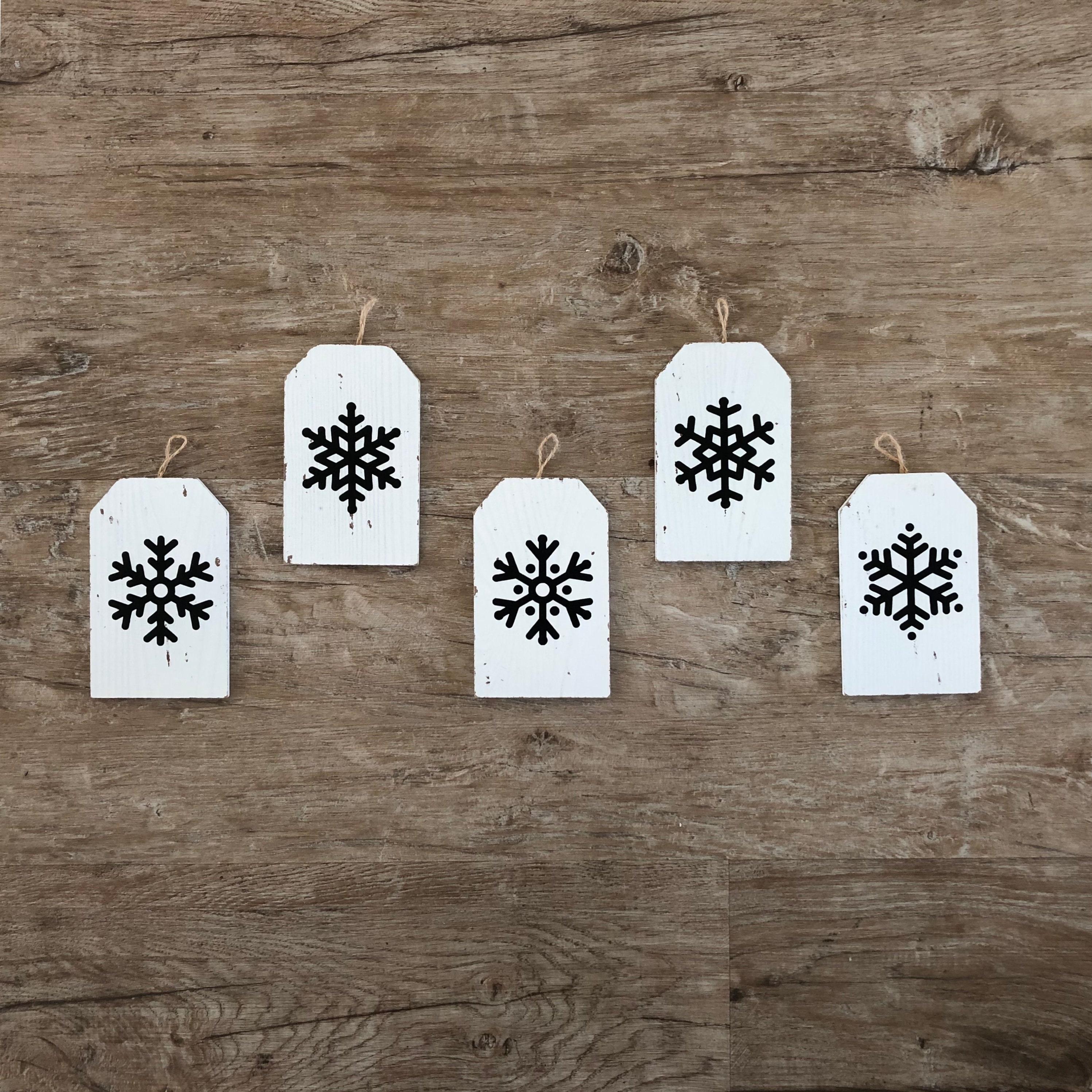 Snowflake Ornaments Black White Snowflake Tag Rustic
