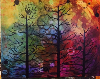 """16"""" x 20"""" Painting on Canvas - Trio of Trees"""