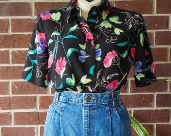 6f6bb8c59f8550 VINTAGE 90S WOMENS SHIRT/ 90s Top/ Women's Vintage Blouse/ 90s Vintage  Blouse/ 90s Floral Blouse/Size Medium