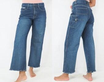 Vintage 90s raver jeans by Bug Girl Frayed seams.