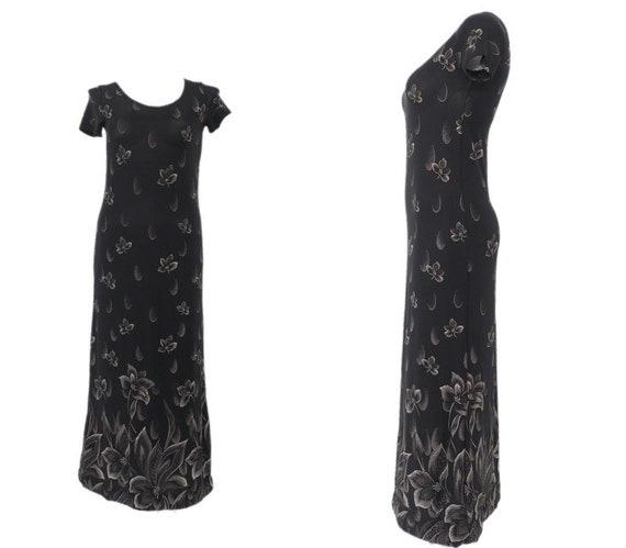 1990s Vintage Regio Black Beaded Bodice Sleeveless Slinky Maxi Dress