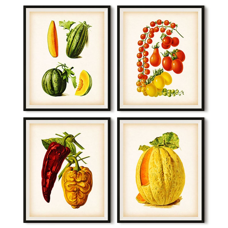 c37804285af75 Kitchen print set, Vegetable decor, Vegetable digital, Vegetable print,  Fruits and vegetables, Tomato, Pepper, Melon, Food art, Vintage, JPG