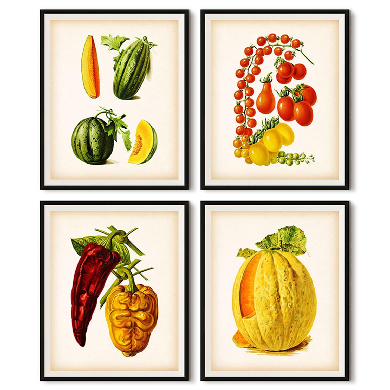Kitchen Decor Vegetables: Kitchen Print Set Vegetable Decor Vegetable Digital