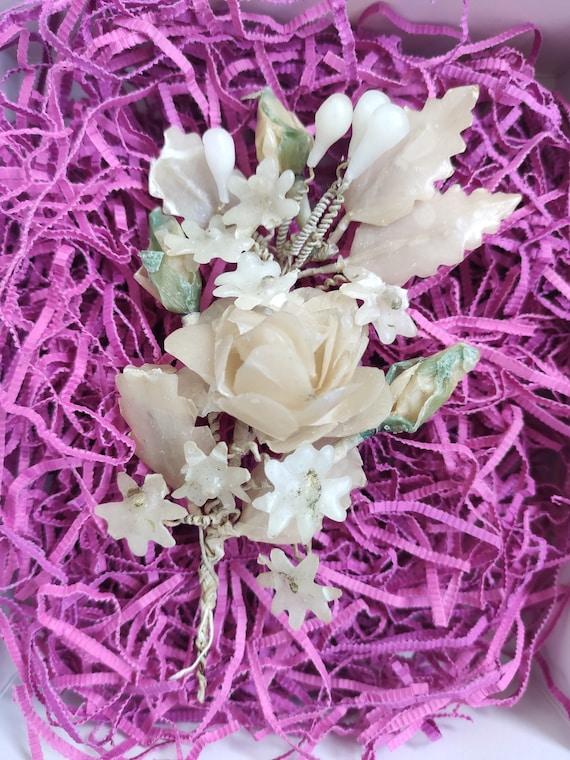 Antique wax wedding bouquet 1900s, vintage wax bou