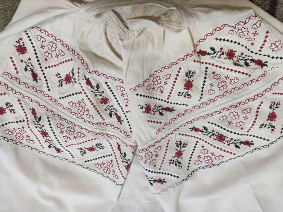43 # Ancient embroidery Ukraine traditional Ukrainian embroidery linen shirt linen 1920 handmade vintage Victorian dress with short sleeves