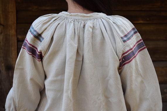 Ancient Ukrainian handmade hemp dress, vintage Ukr