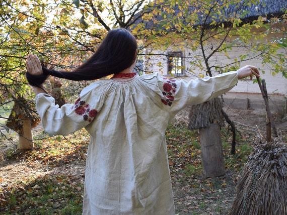 Antique hemp embroidered dress, Ukrainian vyshyvan