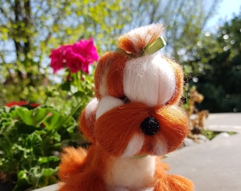 Needle felted wool handmade dog