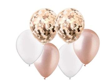 ROSE GOLD + WHITE Balloon Mix - Rose Gold Confetti + Rose Gold + Pearl White Balloons - Set of 6 (12 inches / 30cm)