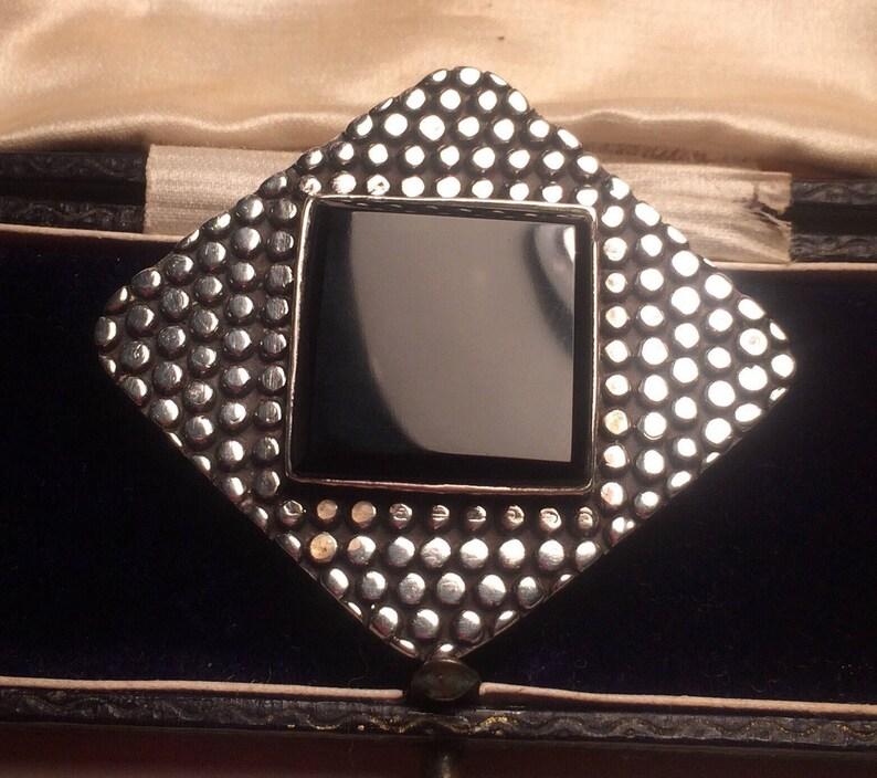 Vintage Jewellery Onyx Jewelry Vintage Onyx Brooch Silver Onyx Brooch Black Brooch Estate Jewelry Chic Brooch