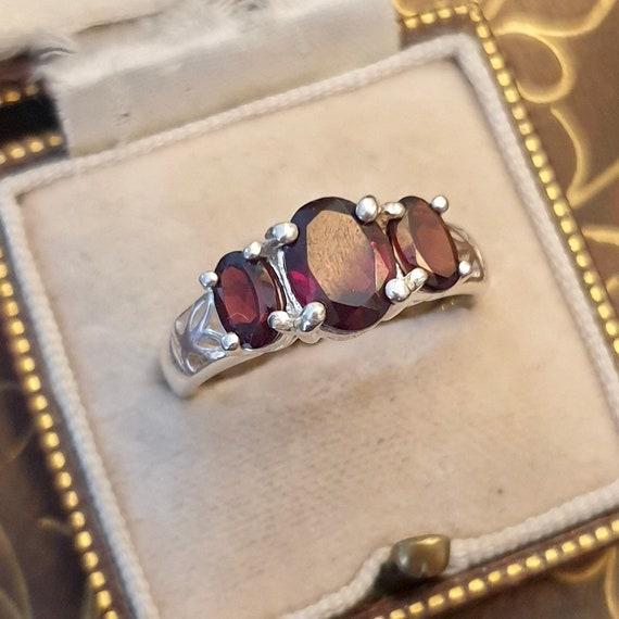Garnet Ring, Garnet Silver Ring, Vintage Garnet R… - image 9