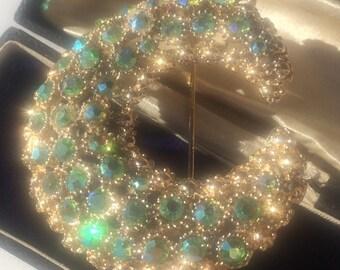 Vintage Brooch, Moon Brooch, Vintage Moon Brooch, Aurora Borealis Brooch, Crescent Moon Brooch, Vintage Pin, Vintage Jewelry, Shawl Pin