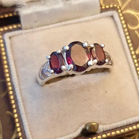Garnet Ring, Garnet Silver Ring, Vintage Garnet R… - image 4