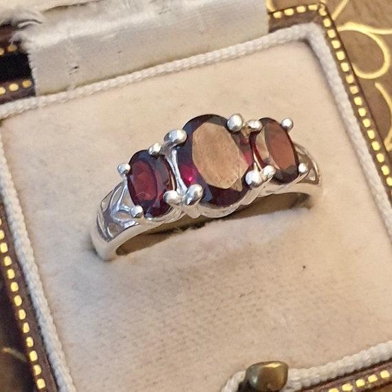 Garnet Ring, Garnet Silver Ring, Vintage Garnet R… - image 6
