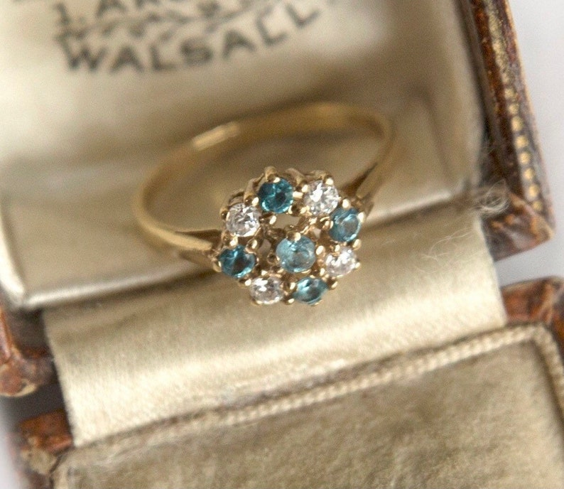Flower Ring Small Gold Ring Vintage Topaz Gold Ring Cluster Gold Ring Gift for Her Multistone Ring